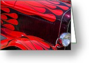 Red Car Greeting Cards - Red flames hot rod Greeting Card by Garry Gay