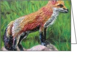 Featured Reliefs Greeting Cards - Red Fox Greeting Card by Lorrie T Dunks