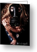 Eyes.fantasy Greeting Cards - Red Head Gas Mask Greeting Card by Jt PhotoDesign