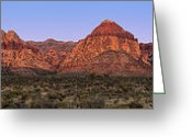 Mojave Greeting Cards - Red Rock Canyon pano Greeting Card by Jane Rix