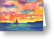 Van Dyke Greeting Cards - Red Sky at Night Greeting Card by Teri  Jones