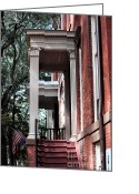 Savannah Artist Greeting Cards - Red Stairs Greeting Card by John Rizzuto