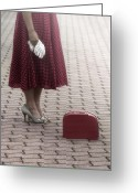 Wait Greeting Cards - Red Suitcase Greeting Card by Joana Kruse