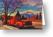 October Greeting Cards - Red Truck Greeting Card by Art West
