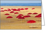 Umbrella Greeting Cards - Red Umbrellas Greeting Card by Carlos Caetano