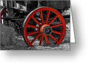 Warp Greeting Cards - Red Wagon Wheel Greeting Card by Jack Zulli