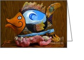 Fish Sculpture Greeting Cards - Reef Surfer Greeting Card by Suzette Kallen