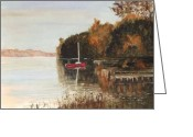 Lake With Reflections Greeting Cards - Reflections II Greeting Card by Brenda Mullaney