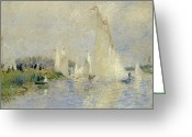 Argenteuil Greeting Cards - Regatta at Argenteuil Greeting Card by Pierre Auguste Renoir