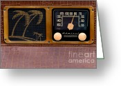 Speakers Greeting Cards - Retro Radio Greeting Card by Art Blocks