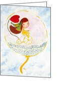 Girl On Bike Greeting Cards - Ride to the secret garden Greeting Card by Rakhee van Meerkerk