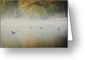 Geese Greeting Cards - River at Sunrise Greeting Card by Everet Regal