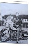 Featured Drawings Greeting Cards - Roadking of Vegas Greeting Card by Charles Rogers