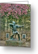 David Birchall Greeting Cards - Robin Hood Statue Greeting Card by David Birchall