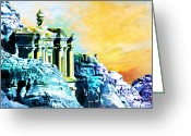 Rabat Painting Greeting Cards - Rock Hewn Monastery Ad-Deir Greeting Card by Catf