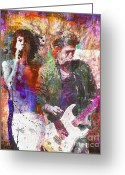 Rolling Stones Mixed Media Greeting Cards - Rolling Stones Greeting Card by David Plastik and Ryan Rabbass
