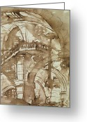 Surrealism Drawings Greeting Cards - Roman Prison Greeting Card by Giovanni Battista Piranesi