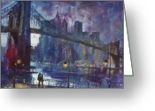 Bridge Greeting Cards - Romance by Hudson River Greeting Card by Ylli Haruni
