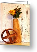 Mango Digital Art Greeting Cards - Rose Sphere and Mango Wood Vase Greeting Card by Marsha Heiken