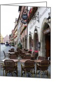 Carol Groenen Greeting Cards - Rothenburg Cafe Greeting Card by Carol Groenen