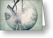Chic Greeting Cards - round treetops I Greeting Card by Priska Wettstein