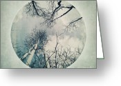 Chic Greeting Cards - round treetops II Greeting Card by Priska Wettstein