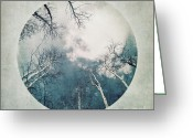 Chic Greeting Cards - round treetops III Greeting Card by Priska Wettstein