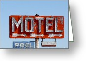 Old Sign Greeting Cards - Route 66 Motel Sign Greeting Card by Art Blocks
