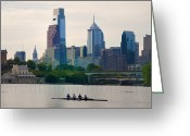 Bill Cannon Greeting Cards - Rowers in Philadelphia Greeting Card by Bill Cannon