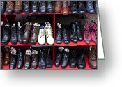 Second Photo Greeting Cards - Rows of shoes Greeting Card by Garry Gay