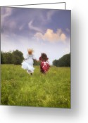 Hugging Greeting Cards - Running Greeting Card by Joana Kruse