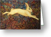 Hare Greeting Cards - Running Rabbit Greeting Card by James W Johnson