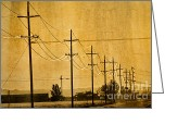 Old Street Greeting Cards - Rural Power Lines Greeting Card by Matt  Trimble