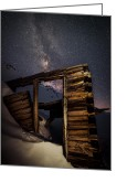 Night Greeting Cards - Rustic Cabin Open House In Mayflower Gulch Greeting Card by Mike Berenson