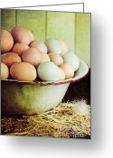 Poultry Photo Greeting Cards - Rustic Farm Raised Eggs Greeting Card by Stephanie Frey