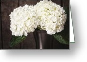 Vase Of Flowers Greeting Cards - Rustic Hydrangea Greeting Card by Lisa Russo