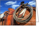 Canadian Photographers Greeting Cards - Saddle Up Greeting Card by Bob Christopher