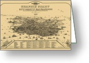 Old Map Photo Greeting Cards - San Francisco Graphic Map 1875 Greeting Card by Daniel Hagerman