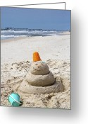 Panama City Beach Greeting Cards - Sand Man Panama City Beach Florida Greeting Card by Gerald Marella