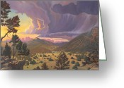 Rain Painting Greeting Cards - Santa Fe Baldy Greeting Card by Art West