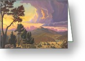 Rain Painting Greeting Cards - Santa Fe Baldy - Detail Greeting Card by Art West