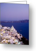 Fantasy Pyrography Greeting Cards - Santorini Greeting Card by Raffi Zobian
