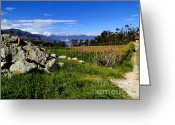 Indian Valley Farm Greeting Cards - Saraguro Ecuador Valley Greeting Card by Al Bourassa