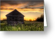 Shed Greeting Cards - Saskatchewan Sunset Greeting Card by Matt Dobson