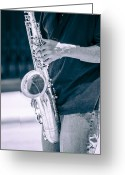 Carolyn Marshall Greeting Cards - Saxophone Player on Street Greeting Card by Carolyn Marshall