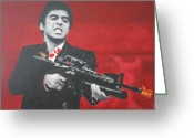 Cult Film Painting Greeting Cards - Say Hello To My Little Friend 2013 Greeting Card by Luis Ludzska