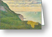 Pointillist Painting Greeting Cards - Seascape at Port en Bessin Normandy Greeting Card by Georges Seurat