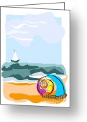 Surf Silhouette Digital Art Greeting Cards - Seashell on the beach Greeting Card by Oksana Khorkhordina