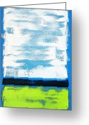 White Blocks Greeting Cards - Seaside - Abstract Modern Art by Sharon Cummings Greeting Card by Sharon Cummings