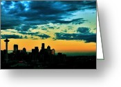 Seattle Skyline Greeting Cards - Seattle Silhouette Greeting Card by Benjamin Yeager